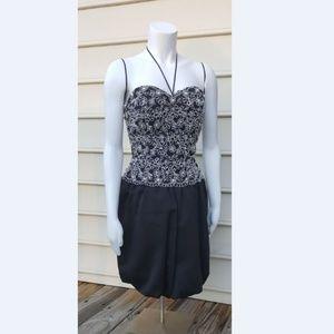 A.J. BARI  BLACK FORMAL PEARL BEADED BUBBLE DRESS